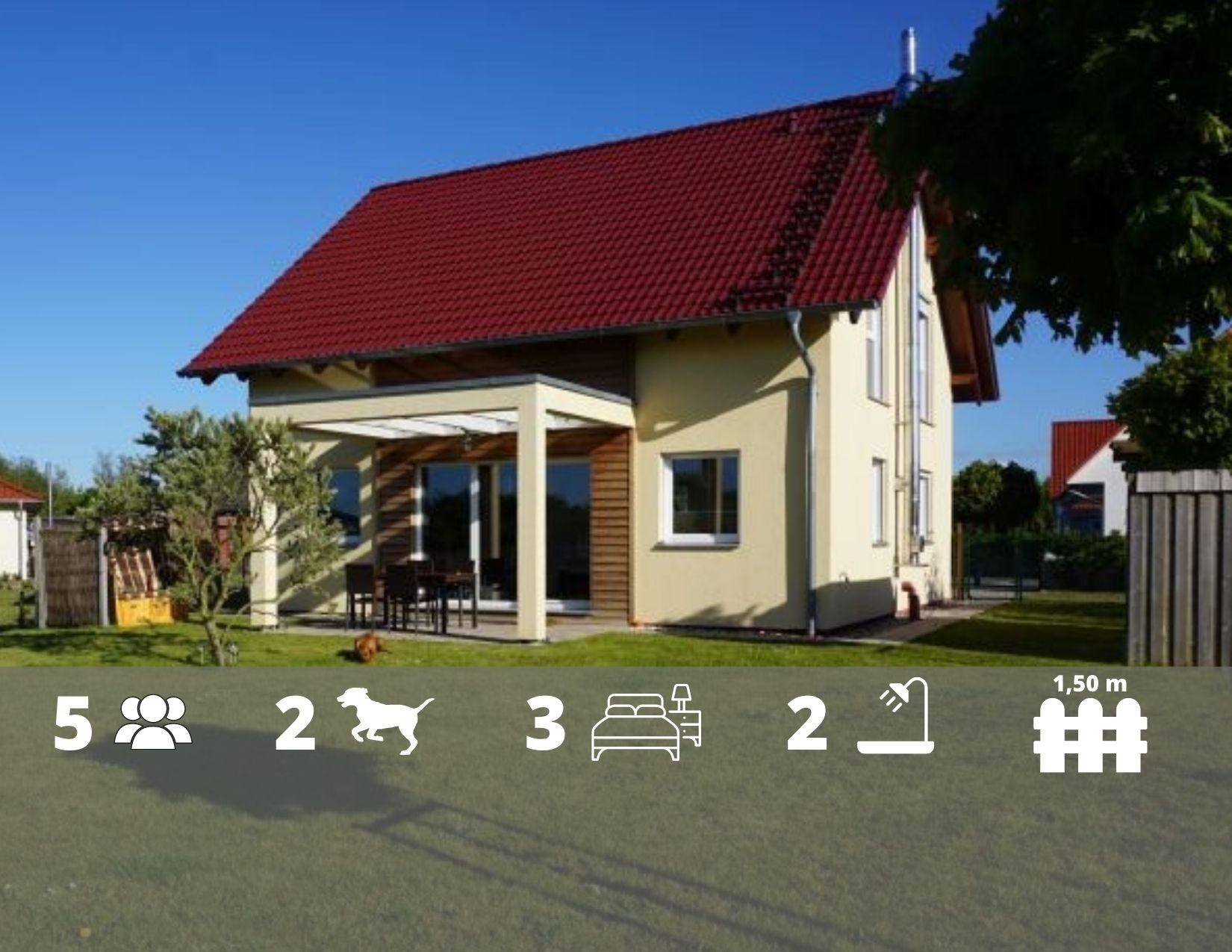 Ferienhaus Bernstein mit Kamin, Sauna, Zaun 800m zum Naturstrand